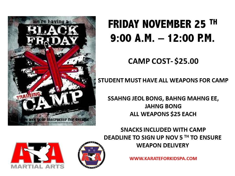 Black Friday Weapons Camp @ Karate for Kids | Pottstown | Pennsylvania | United States